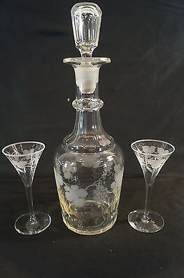 19th Century Cut Crystal & Grape Vine Engraved Decanter & Cordial Glasses