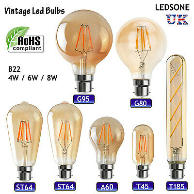 Vintage Industrial Filament LED Light Lamps Bulbs Squirrel Cage Edison A+ B22 UK