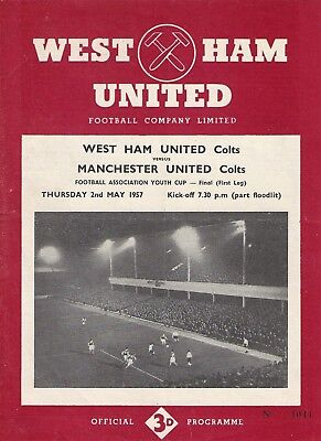 Fa Youth Cup Final Programme 1957 West Ham V Manchester United