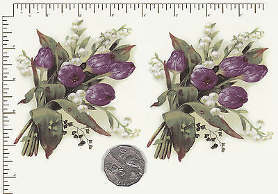 2 x Ceramic decals. Decoupage Tulips and Lily of the Valley  4 1/4 x 3 3/4 PD888