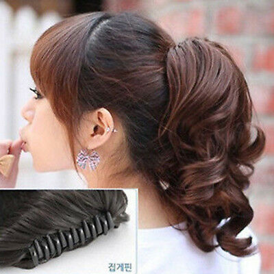 US Women Ladies Curly Wavy Short Ponytail Hairpiece Claw Clip-on Hair Extensions
