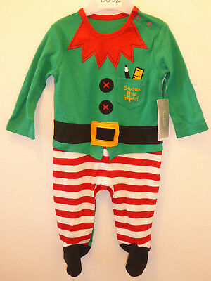 Baby Boys Girls CHRISTMAS ELF Playsuit Sleepsuit Romper 3-6 Months NEW TAG GIFT