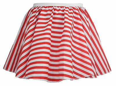Ladies Queen of Hearts Red Striped Skater Skirt Wunderland Fancy Dress