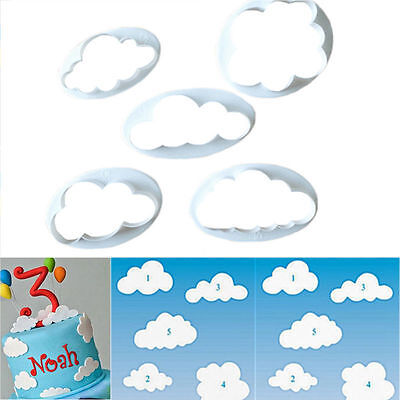 New 5pcs Cloud Shape Fondant Sugar Craft Cake Mould Plunger Pastry Cookie Mold