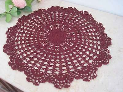 Hand Floral Crochet Cotton Deep Red Doily Round Table Topper 44CM