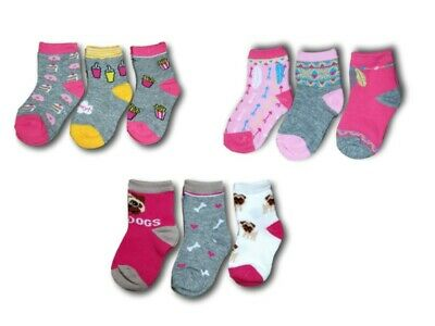 Baby Toddler Girls Cotton Blend Socks 3 Pairs  Multi Buy Size 9 months 3 Years