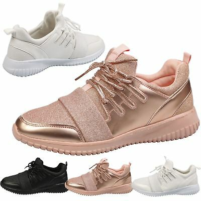 Womens Shoes Ladies Flat Pumps Trainers Sneakers Lace Up Fitness Casual Size New