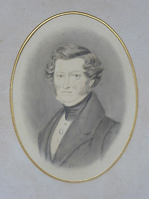 Antique French watercolour portrait naive in wooden picture frame 19th century