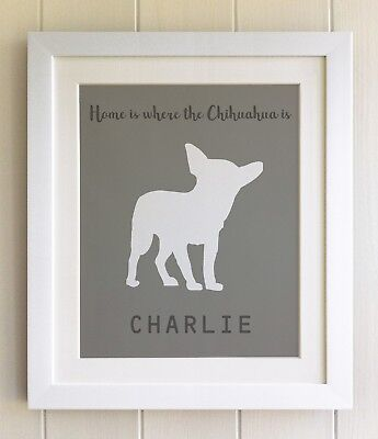 PERSONALISED FRAMED Dog Pet Print, Chihuahua, 20 Colours options, Picture Gift