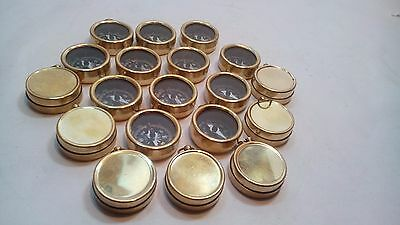Vintage Maritime Antique Brass Pocket Compass Collectible Gift (Lot Of 6 Pcs)