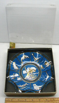 Blue Sea World 1976 Candy Dish Decorated Souvenir Plate Bowl With Box 7 Inch
