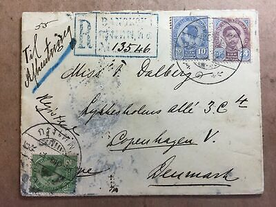 1899 Registered cover cancelled Bangkok 1 to Denmark