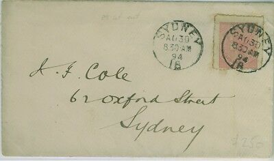 1894 Cover to Sydney with 6d cut out used.