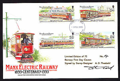 IOM Isle of Man Manx Electric Railway 1993 Train Cover Signed Limited Edition