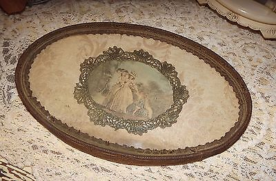 ANTIQUE Metallic Lace & Trim BOUDOIR TRAY Hanging FLAPPER ERA VICTORIAN  VINTAGE