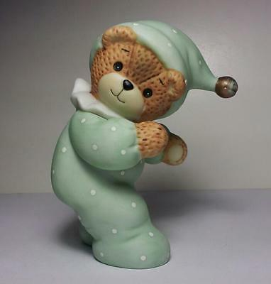 Lucy Rigg Enesco - Teddy Bear With Green Outfit Ceramic Figurine -Lucy & Me 1985