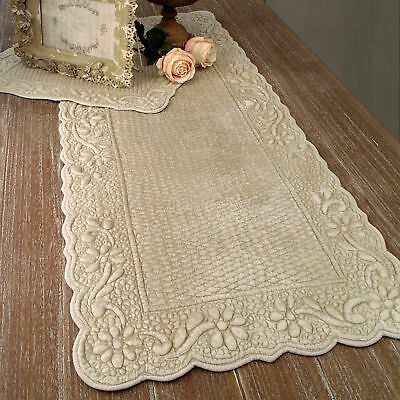 Runner Boutis Velluto Shabby Chic Colore Ecru 50 x 120 Angelica Home & Country