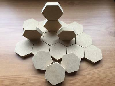 MDF Wooden Hexagon Blocks - Stacking - Sold Singly or in Packs (18mm and 12mm)