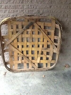 Antique Primitive Handmade Tobacco Basket JC TENN. YOUNGS WH. Natural Wood Band