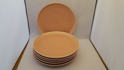 "6 Russel Wright Coral Color Oneida Salad Luncheon Plates 9 3/8"" Scarce"