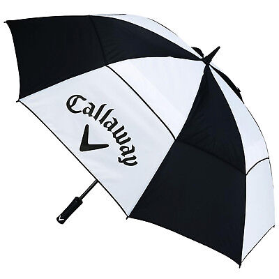 "Callaway Golf 60"" Double Canopy Clean Logo Umbrella - New Windproof Rain Brolly"