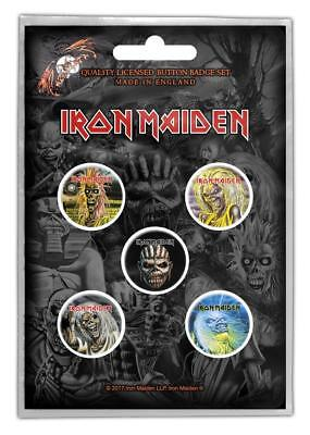 Official Licensed - Iron Maiden - Faces Of Eddie 5 Badge Pack Heavy Metal