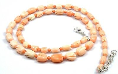 """Natural Coral Tulip Carved Necklace Sterling Silver 18"""" 16"""" Bead Birthday Gift"""
