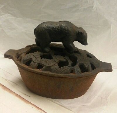 Vintage Cast Iron Wood Stover Steamer with Bear Lid