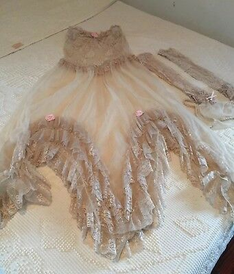 GORGEOUS 4 Piece VINTAGE Lingerie Set Nude Lace Negligee Strapless w Gloves smal