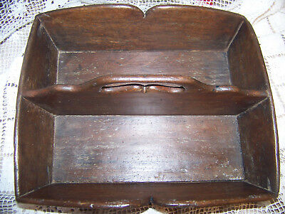 Antique Authentic Primitive Hand Carved Wood Carrier Tote Original Great Patina
