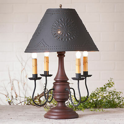 COLONIAL TABLE LAMP & PUNCHED TIN SHADE - Heavily Distressed Red Crackle Finish