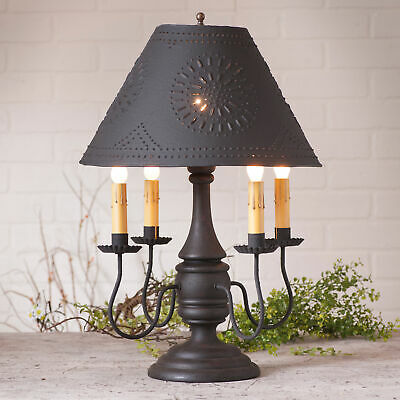 COLONIAL TABLE LAMP & PUNCHED TIN SHADE - Heavy Distressed Black Crackled Finish