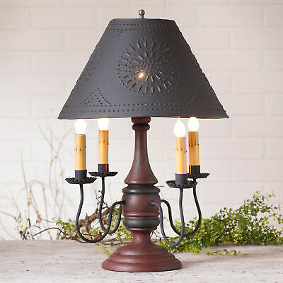 COLONIAL TABLE LAMP & PUNCHED TIN SHADE Distressed Red & Black Crackled Finish