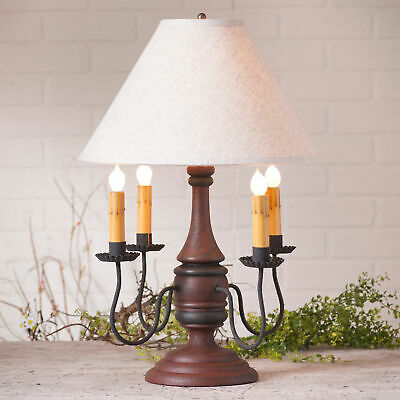 COLONIAL TABLE LAMP & IVORY SHADE Heavily Distressed Crackled Red & Black Finish