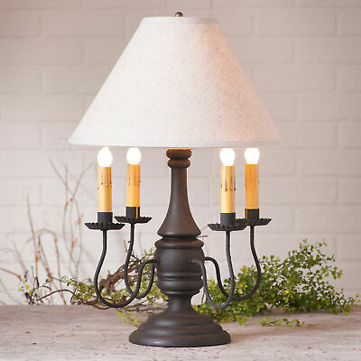 COLONIAL TABLE LAMP & IVORY LINEN SHADE Heavily Distressed Crackled Black Finish
