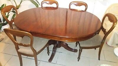 Victorian repro extending pedestal dining table with 6 balloon back chairs