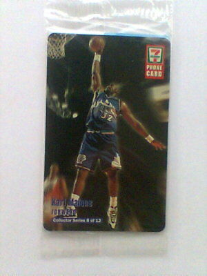 """1997  7-11 """"KARL MALONE"""" Collector Phone Card #8 of 12 Never Used"""