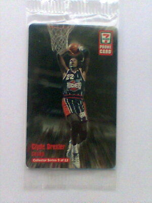 """1997  7-11 """"CLYDE DREXLER"""" Collector Phone Card #9 of 12 Never Used"""