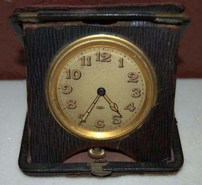 Swiss Made Antique Pocket Folding Travel Watch Clock Fold Up Stand Vintage ~154