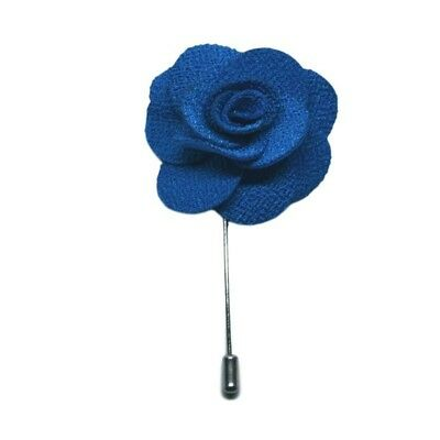 Royal Blue Handmade Flower/Rose Lapel Pin for wearing with men's suit jacket, bl