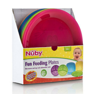 Nuby Fun Coloured Plastic Baby Feeding Entertaining Colourful Bright - 1 Plate