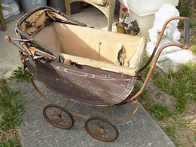 Antique Rare Wood Baby/Doll Buggy Carriage With Hand Brake Late 1800's?