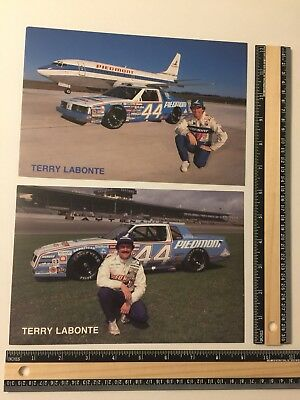 "Two Rare Vintage Terry Labonte #44 1986 Piedmont Airlines Card 6"" X 9"""