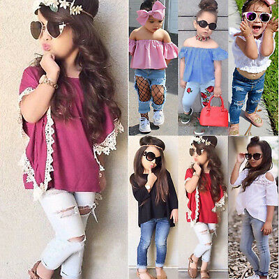 Toddler Kids Girls T-Shirt Tops Denim Jeans Pants Trousers Clothes Outfits Set