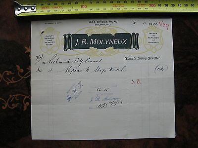 J R Molyneux Jeweller 234 Bridge Rd Richmond    Stop Watch Repair  1926 INVOICE