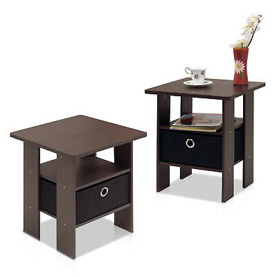 SET of 2 White Chic Nightstand End Side Bedside Table with Wicker