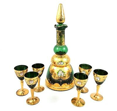 Vtg Cordial Set Musical Decanter Glasses Green Gold Hand Painted Enameled Floral
