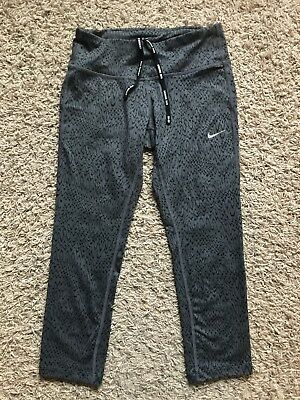 Nike Running Dri Fit Womens Athletic Leggings, Grey And Black Patterned, Size XS