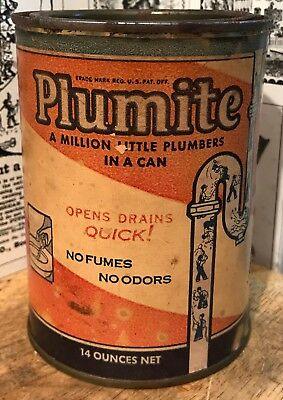 Vintage 1936 Plumite Drain Cleaner / Unclogger / Cleaner Tin / Can - Plumber