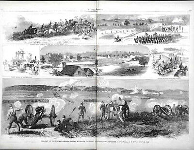 1863 Battle GENERAL CUSTER Siege of Charleston Georgia Map Wagner Harpers Weekly